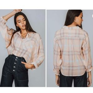 """Free People """"Cutie"""" Cropped Plaid Button Down Top"""